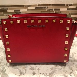 Michael Kors Selma Red Studded Crossbody Bag
